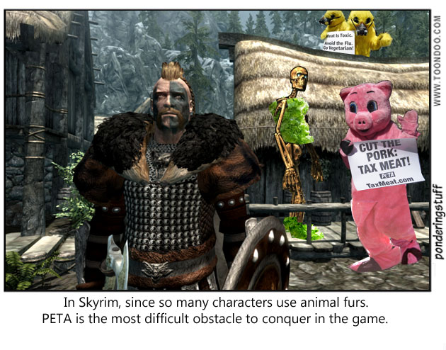 Skyrim, animal fur, PETA